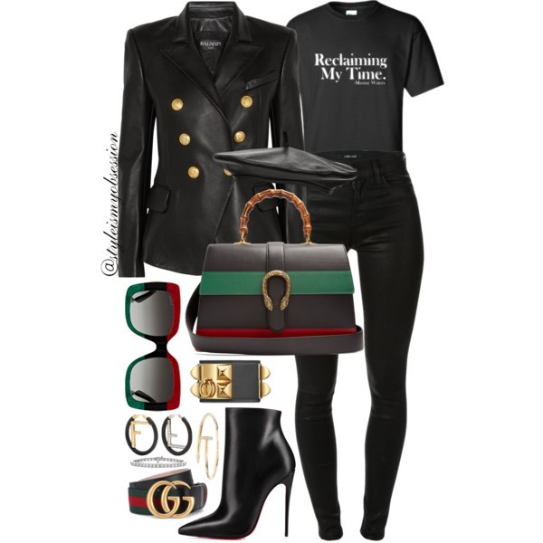 What To Wear For Black History Month Maxine Waters Inspired Outfit Idea Balmain Leather Blazer The Movement Merchandising Auntie Maxine T-Shirt Gucci Dionysus Leather Bag Christian Louboutin So Kate Ankle Boots.jpg