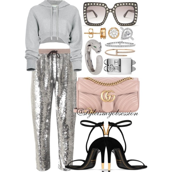 Style Inspiration Glitterati Off-White Cropped Hoodie Ashish Sequined Joggers Tom Ford Ankle Lock Sandal Gucci GG Marmont Matelasse Bag.jpg