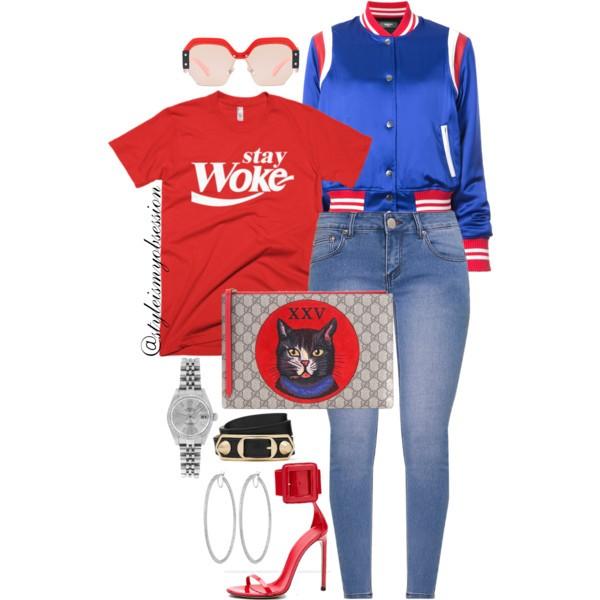 Style Inspiration Stay Woke Melanin Apparel Stay Woke Unisex T-Shirt Amiri Satin Bomber Gucci GG Supreme Canvas and Leather Clutch Gucci Spring 2013 Sandal.jpg