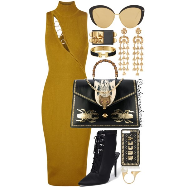 Style Inspiration Ancient Egypt Cushnie et Ochs Dress Forever 21 Lace Up Boots Gucci Broche Bag Linda Farrow Cateye Sunglasses.jpg