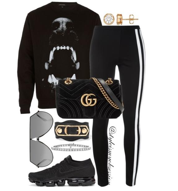 Style Inspiration Dog Bite River Island Black Dog Bite Sweatshirt Y-3 Side Stripe Track Pants Gucci GG Marmont Velvet Bag Nike Air VaporMax Sneaker.PNG