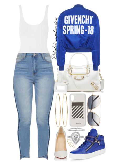 Style Inspiration Electric Blue Givenchy Spring 2018 Cropped Bomber Jacket Balenciaga Metallic City Edge Bag Christian Louboutin So Kate Pump Giuseppe Zanotti Sneaker.PNG
