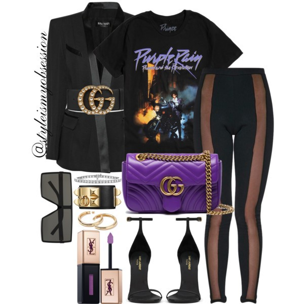 What To Wear For Black History Month Prince Inspired Outfit Idea Balmain Tuxedo Blazer Hot Topic Purple Rain T-Shirt Pretty Little Thing Mesh Leggings Gucci GG Marmont Leather Bag.jpg