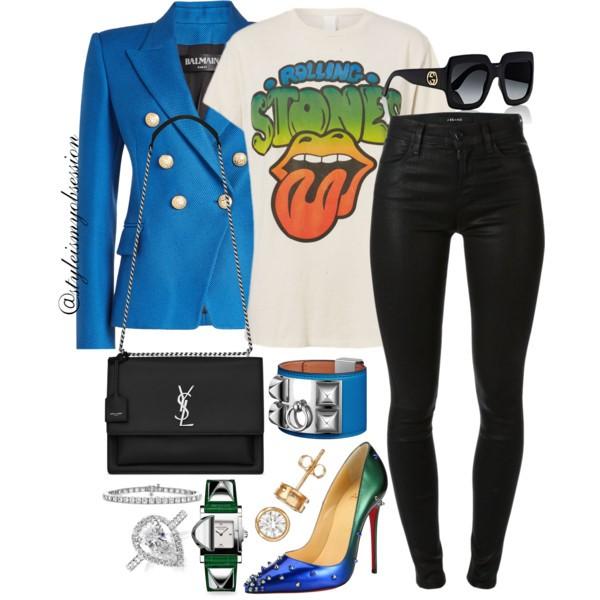 Style Inspiration Pop Rocks Balmain Blazer Madeworn Rolling Stones T-Shirt Saint Laurent Sunset Bag Christian Louboutin Degraspike So Kate Pumps.jpg