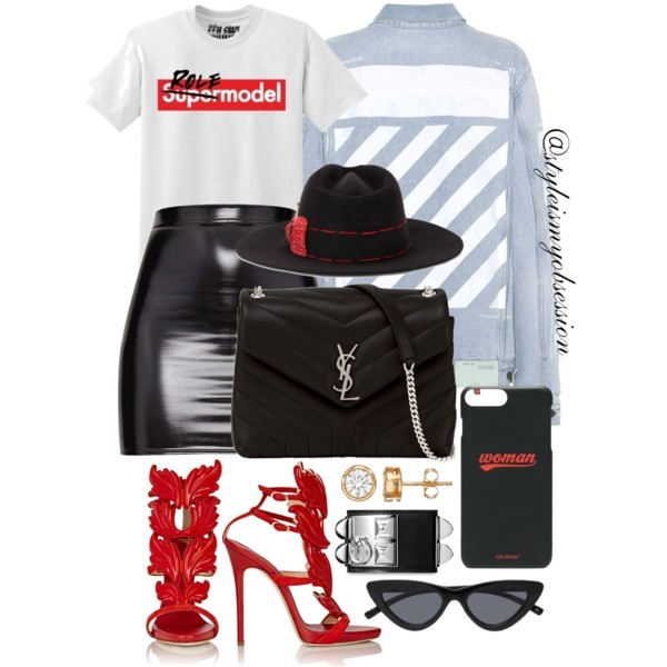 Style Inspiration Role Model Off-White Printed Denim Jacket June Ambrose Role Model Graphic Print T-Shirt Giuseppe Zanotti Cruel Summer Sandal Saint Lauren Lou Lou Bag.jpg