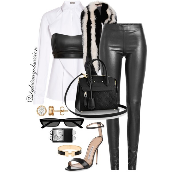 Style Inspiration Out To Lunch Alexis Mabille Shirt PrettyLittleThing Bandeau Crop Top Joseph Leather Leggings Manolo Blahnik Sandal Louis Vuitton Bag.jpg