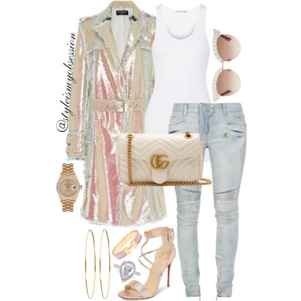 Style Inspiration Fairy Dust Balmain Paillettes Trench Coat Balmain Biker Jeans Christian Louboutin Choca Criss Sandal Gucci GG Marmont Quilted Shoulder Bag.jpg