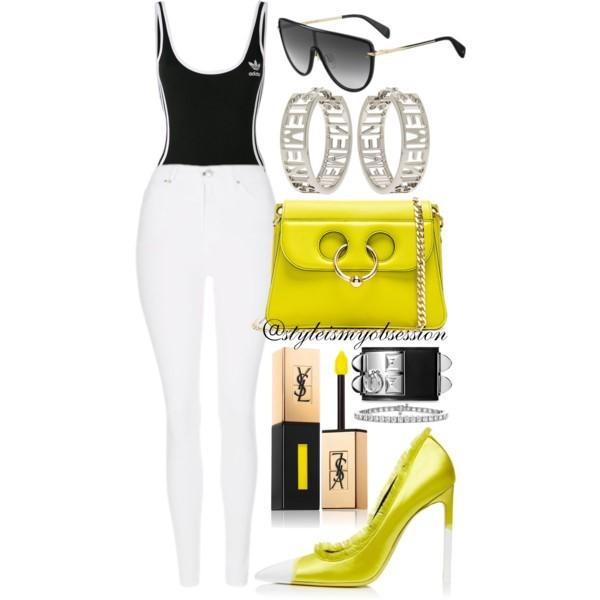 Style Inspiration Time Out Adidas Bodysuit Tom Ford Frayed Satin Pump JW Anderson Mini Pierce Bag Rag & Bone Shield Sunglasses.jpg