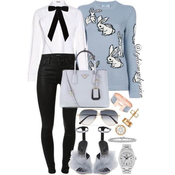 Style Inspiration What To Wear For Easter Sunday Prada Rabbit Sweater Topshop Roar Feather Sandal Prada Saffiano Leather Tote.jpg