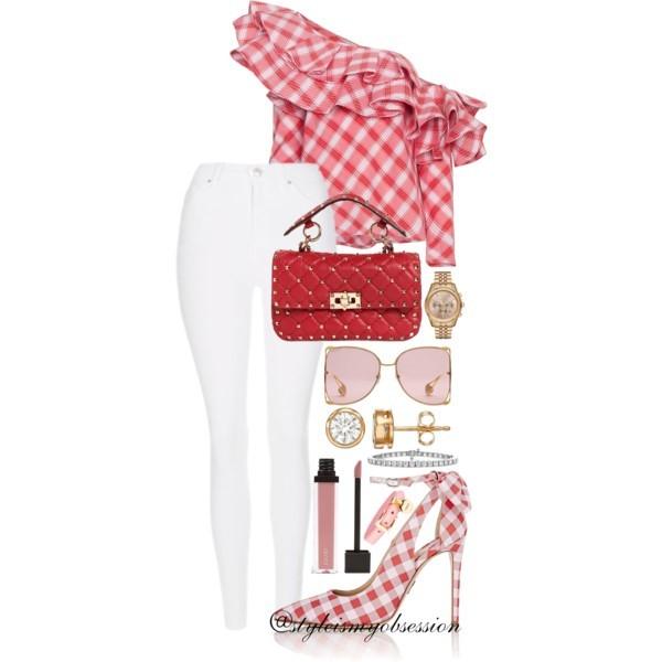 Style Inspiration Strawberry Season Johanna Ortiz Check Print Ruffle Off-The-Shoulder Top Valentino Spike Leather Shoulder Bag Paul Andrew Fiona Gingham Pump.jpg