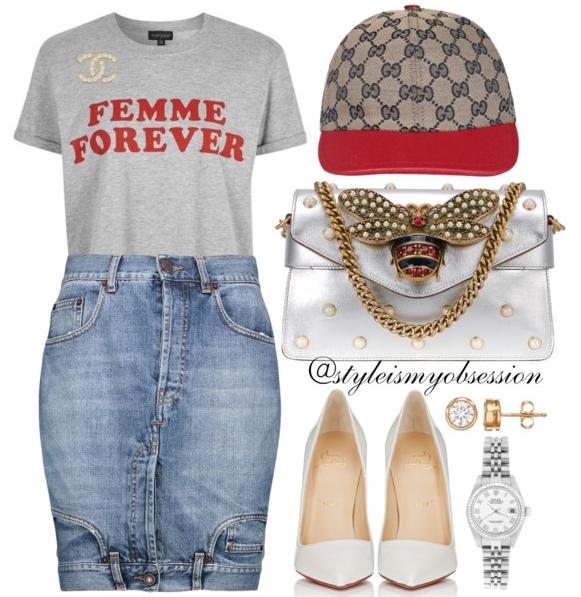 Style Inspiration Femme Forever Topshop Femme Forever Tee Moschino Denim Skirt Christian Louboutin So Kate Pump Gucci Broadway Shoulder Bag.PNG