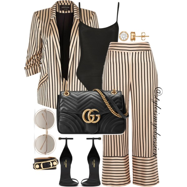 Style Inspiration River Island Striped Co-Ord Set Saint Laurent Classic Jane Sandal Gucci Bag Chloe Sunglasses Balenciaga Bracelet.jpg