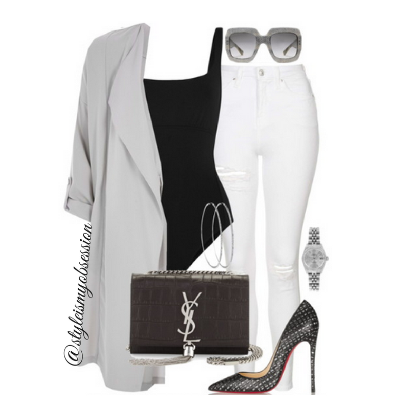 Style Inspiration Shades of Grey River Island Duster Jacket Saint Laurent Monogram Tassel Shoulder Bag Christian Louboutin Pump Gucci Sunglasses.png