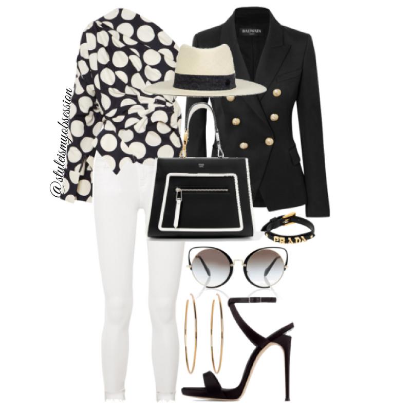 Style Inspiration Connect The Dots Balmain Blazer A.W.A.K.E. Polka Dot One Shoulder Top Giuseppe Zanotti Dionne Sandal Fendi Runaway Bag Miu Miu Sunglasses.png
