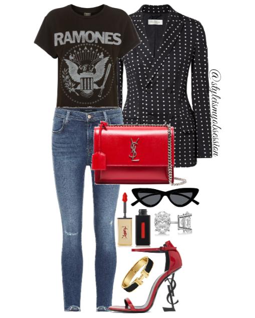 Style Inspiration I'm With The Band Max Mara Jacket Madeworn T-Shirt J Brand Jeans Saint Laurent Opyum Sandal Saint Laurent Sunset Bag.PNG