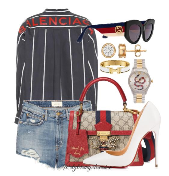 Style Inspiration The Patriot Balenciaga Striped Shirt Christian Louboutin So Kate White Pump Gucci Queen Margaret GG Bag.PNG
