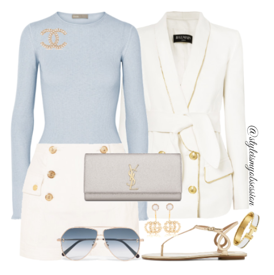 Style Inspiration Yacht Club Balmain Belted Double Breasted Blazer Balmain Button Detail Shorts Aquazzura Almost Bare Gold Sandal Vince Ribbed Sweater Saint Laurent Kate Clutch.PNG