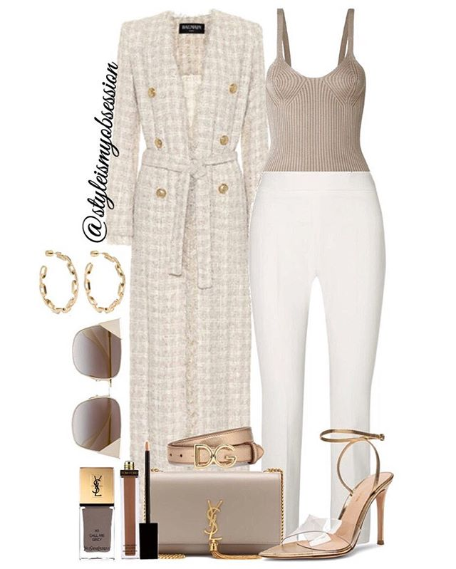 Taupe & Tweed  Talking taupe & tweed styles on this Tuesday morning. Click the 🔗 in our bio for full outfit details, including shopping links and Look For Less options.  #style #fashion #instastyle #instafashion #styleismyobsession #styleinspiration #lotd #StylePost #Balmain #GianvitoRossi #Hermes #Fendi #MaxMara #JenniferFisher #MaraHoffman #DolceGabbana #SaintLaurent