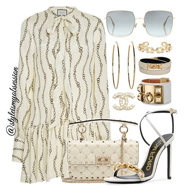 Chain Gang  Add a little luxe to your spring wardrobe with chain and scarf print styles. Click the 🔗 in our bio for full outfit details, including shopping links and Look For Less options.  #style #fashion #instastyle #instafashion #styleismyobsession #styleinspiration #StylePost #ootd #SpringTrends #TomFord #Fendi #Alexis #Dior #Valentino #Chanel #SaintLaurent