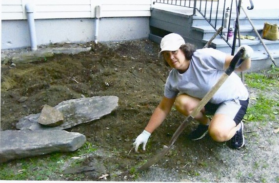 Helping with the Barnard Town Hall garden