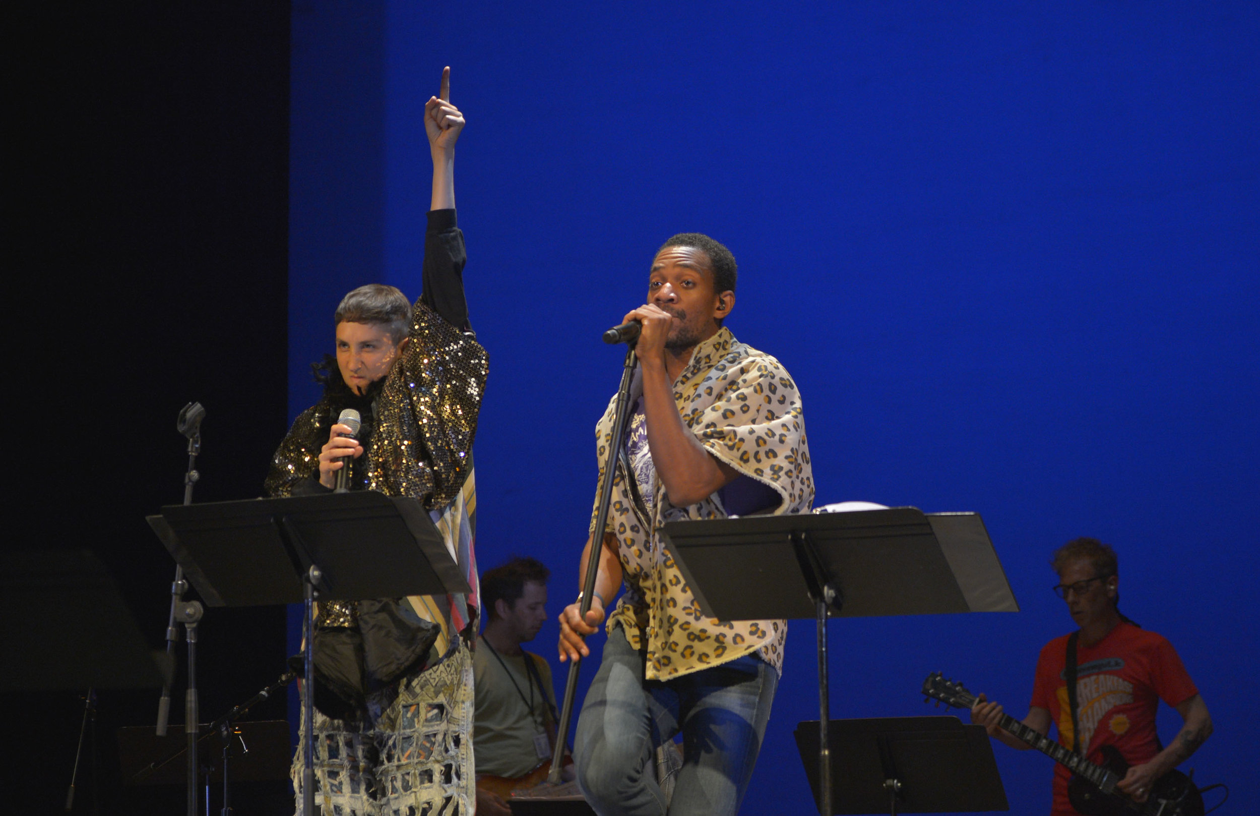 Jo Lampert and Reggie D. White in Eddie at Theatreworks, 2016