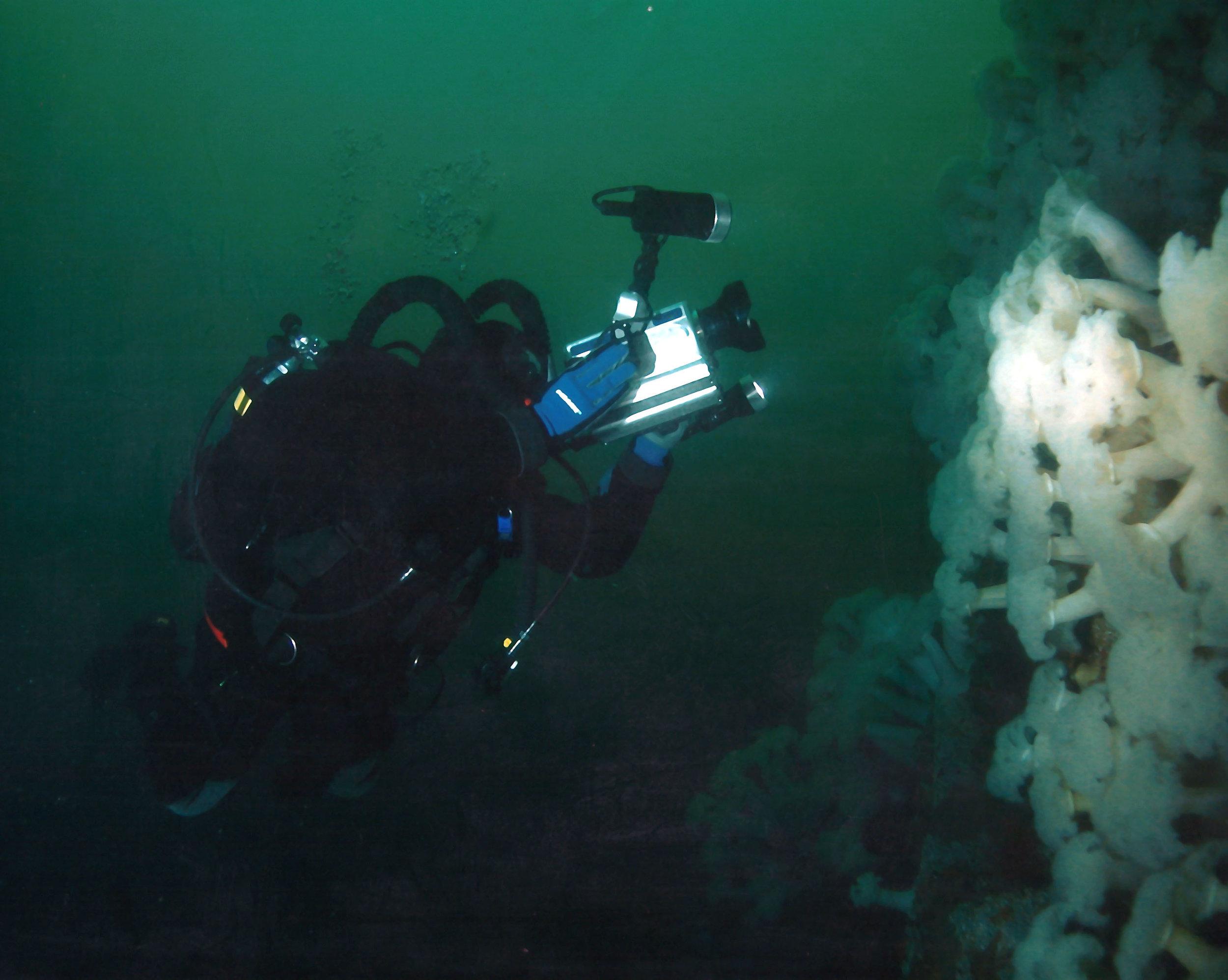 Paul shooting underwater video using a rebreather.