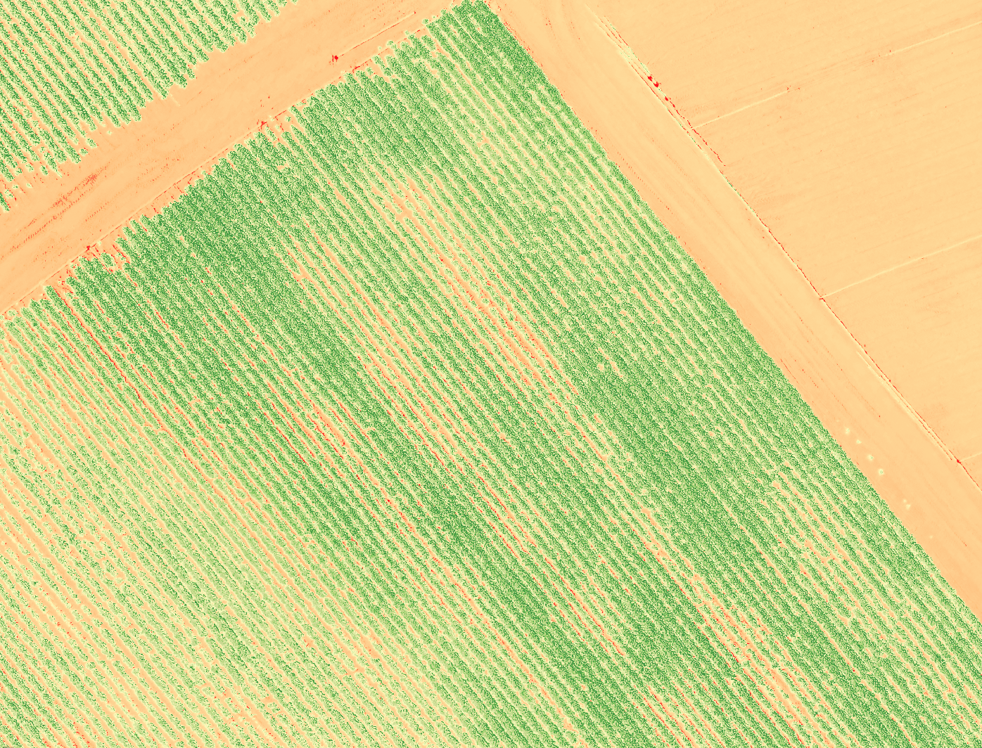 Multispectral image show crop stress in red, health in green.