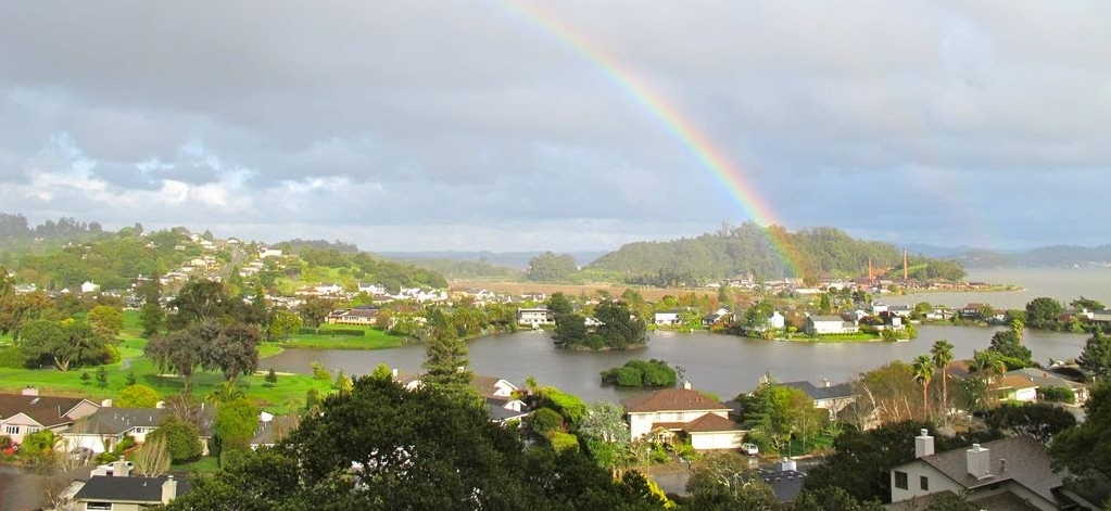 Rainbow over Peacock Gap and the Lagoon