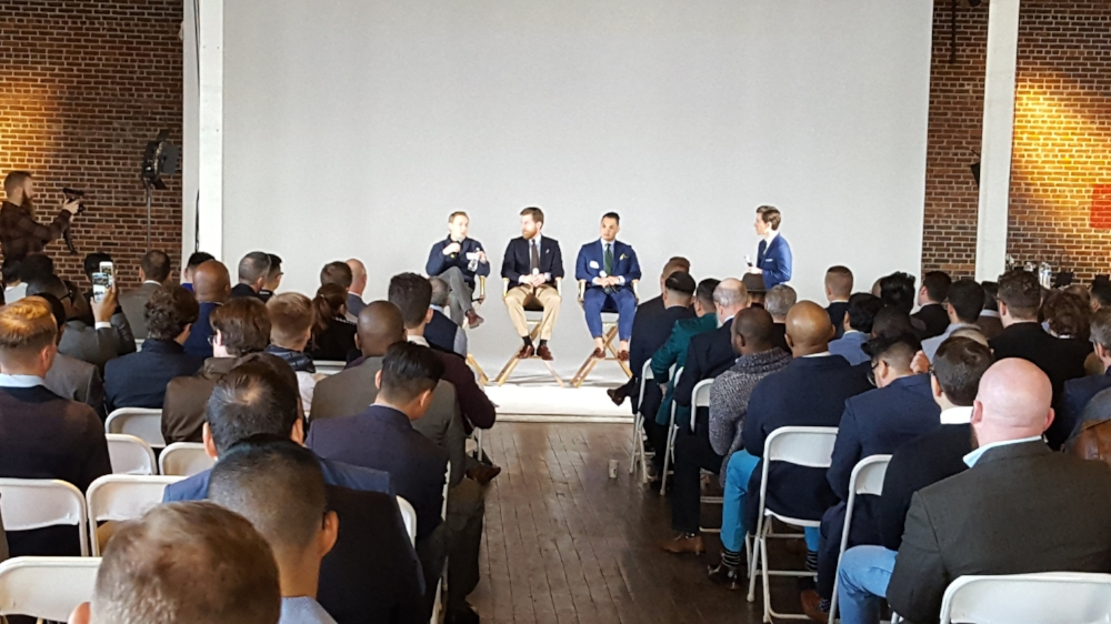 Brock McGoff (The Modest man) moderating a panel with andy SNavely (Primer Magazine), Tanner Guzy (Masculine Style) and Barron Cuadro (Effortless Gent).