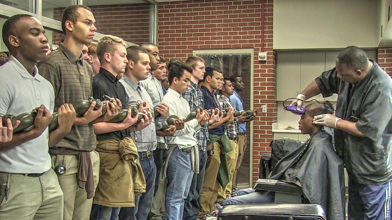 Recruits waiting to get their hair cut