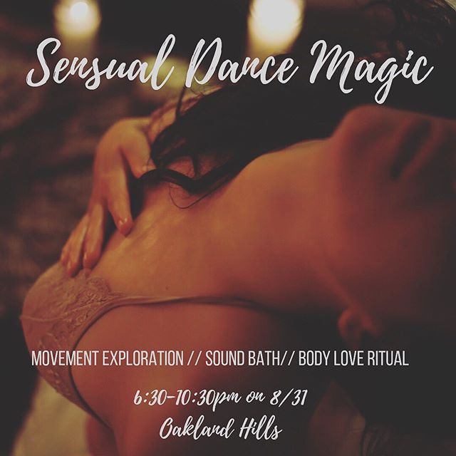 """And we bring you ✨Sensual Dance Magic ✨ . I'm thrilled to be collaborating with @cell.to.soul to offer a space for femmes to explore the power of dance, movement, and body love on Saturday August 31st in a beautiful private home in the Oakland hills. . This is a space to explore and embody the full spectrum of being alive, and consciously welcoming the many parts of us and the feminine: especially those """"edgy"""" ones! The slut, the rebel, the queen, the sacred, its all welcome. It's a somatic temple to bring and move all that is here for you. . We will be guiding you through a body love ritual, archetypal dance/embodiment journey, and then integrating with a sound bath. Sensuous Elixirs and vegan/gf treats will be provided. . The power of dance / embodiment  has been so transformative for me in moving into deeper layers and expressions of myself and ultimately embodying more of who I am, and I'm so excited to create this space with you ❤️ . To register, send $44 - $66 to Karla-palomino on Venmo and include your email address! Space is limited to we suggest reserving your space soon if you feel a YES! .. Open to all women identifying and femme identifying beings ❤️ . #sensualdancemagic #sensuality #embodiment #bodylove #selflove #bayareaevents #erotic #femme"""