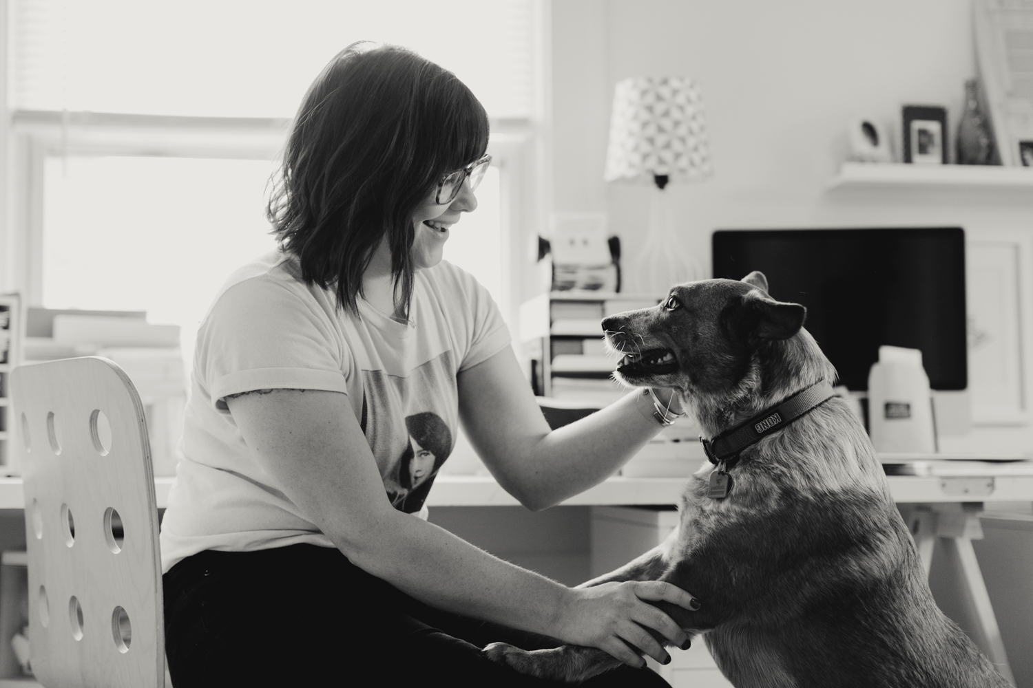 Amber Esner, Cleveland female artist, with dog Churro