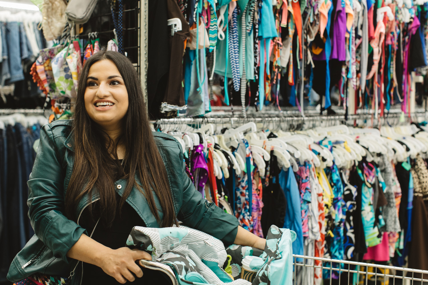 Dina Younis, blogger and podcaster, at the thrift store