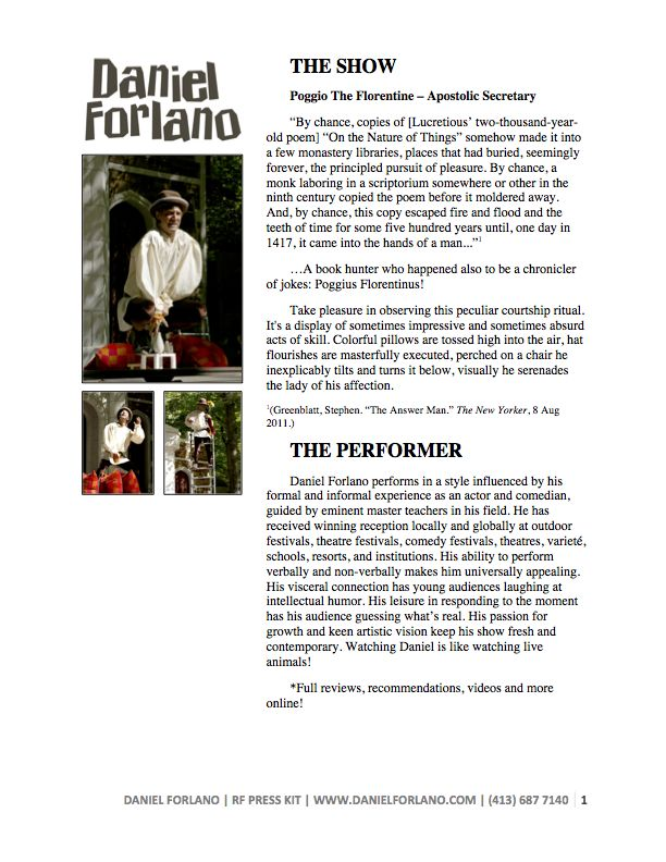 Renaissance Festival Press Kit   Show description • About the performer • Testimonials • Biography