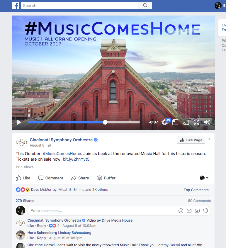 Cincinnati Symphony Orchestra social video campaign on Facebook