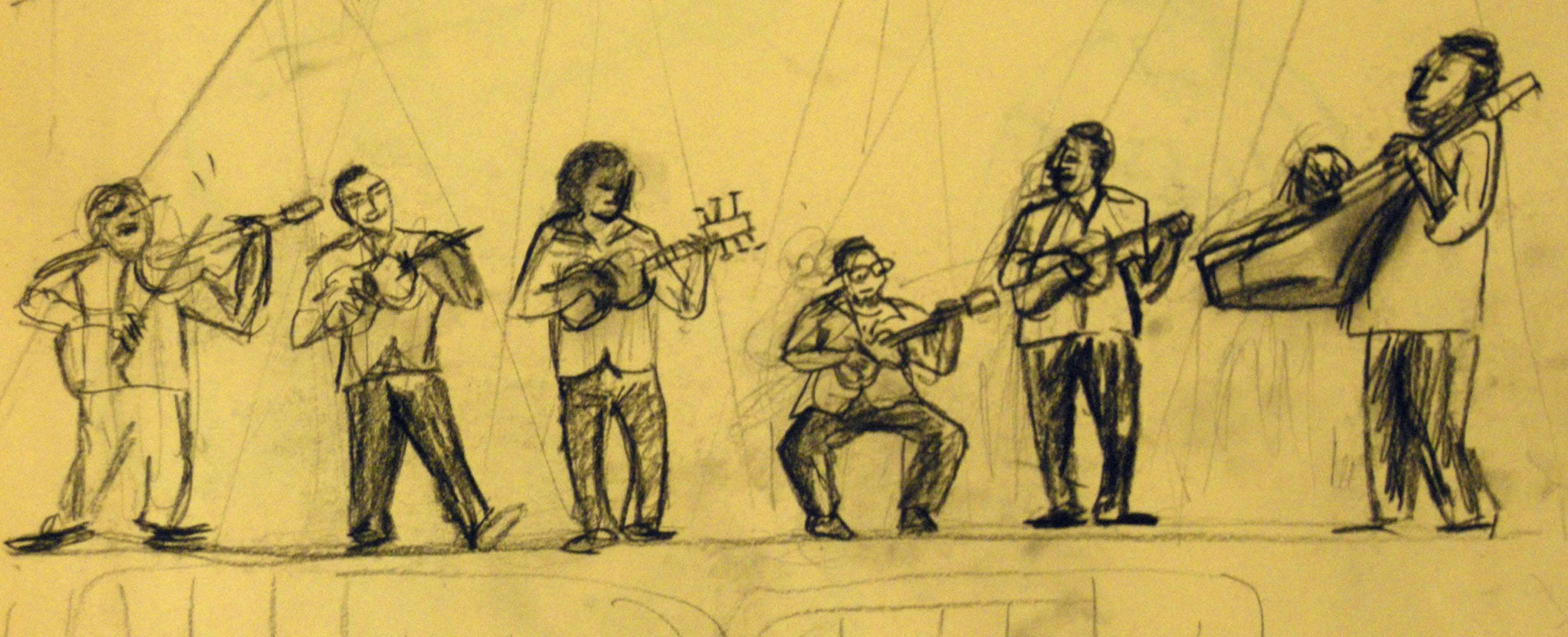 JARANA PLAYERS / VERACRUZ  Charcoal on coloured paper | 40 x 20 cm  (original only available) £70