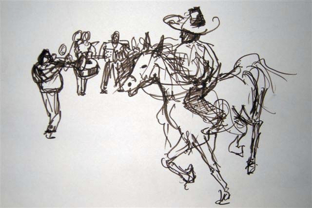 MARIARCHI'S AT THE RODEO  Felt pen on Paper | 44 x 32 cm  Sold