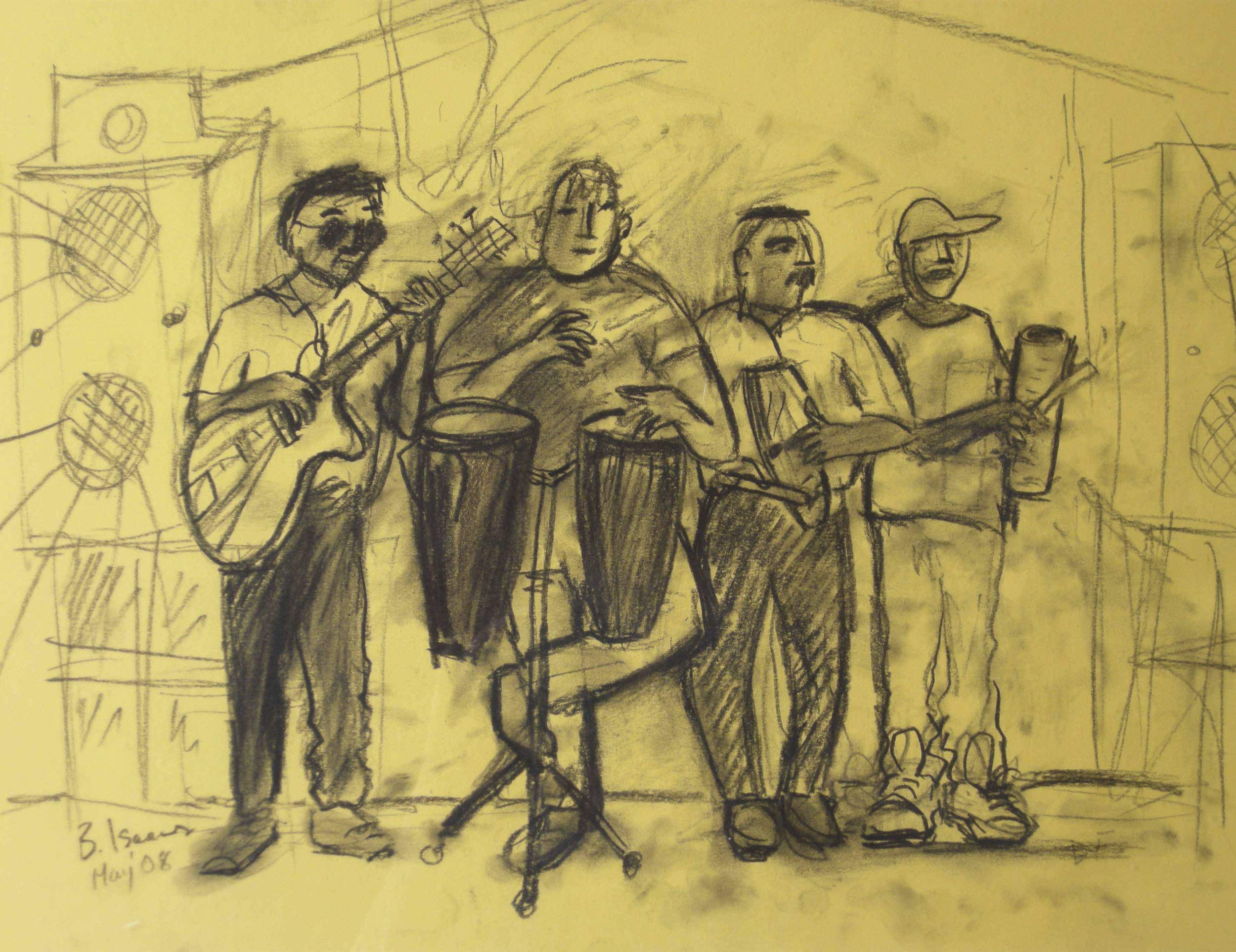 CUBAN MUSICIANS  Charcoal on Coloured Paper | 2008  (original only available) £70