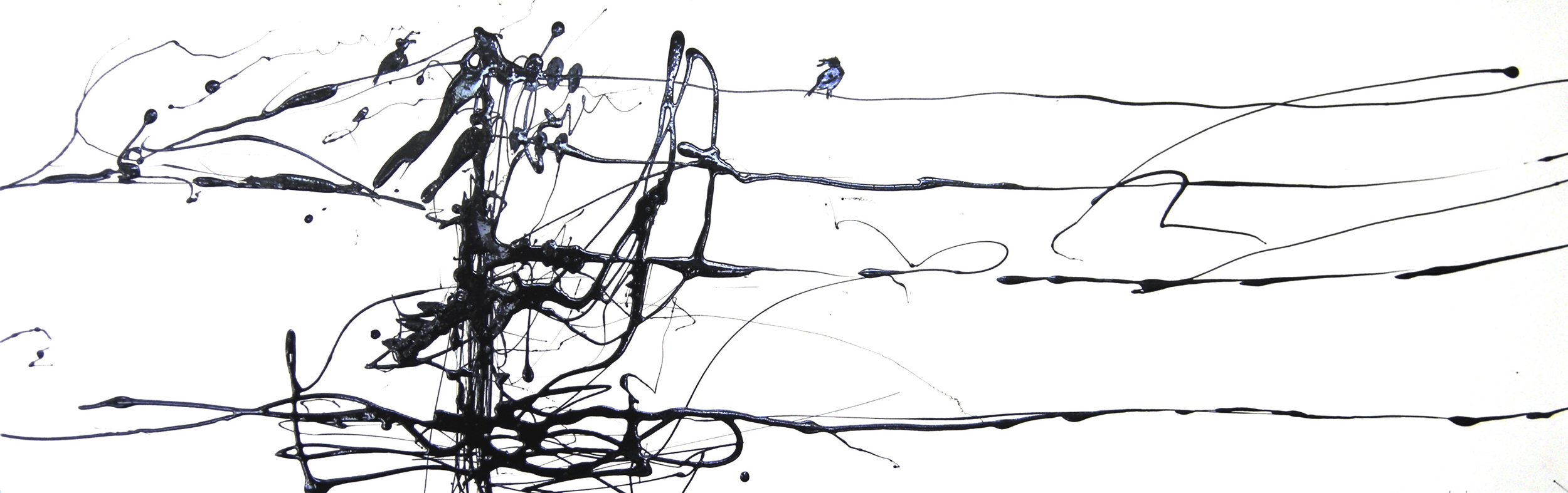 BIRDS ON A WIRE #2  Industrial Paint on Paper | 87 x 28.5 cm