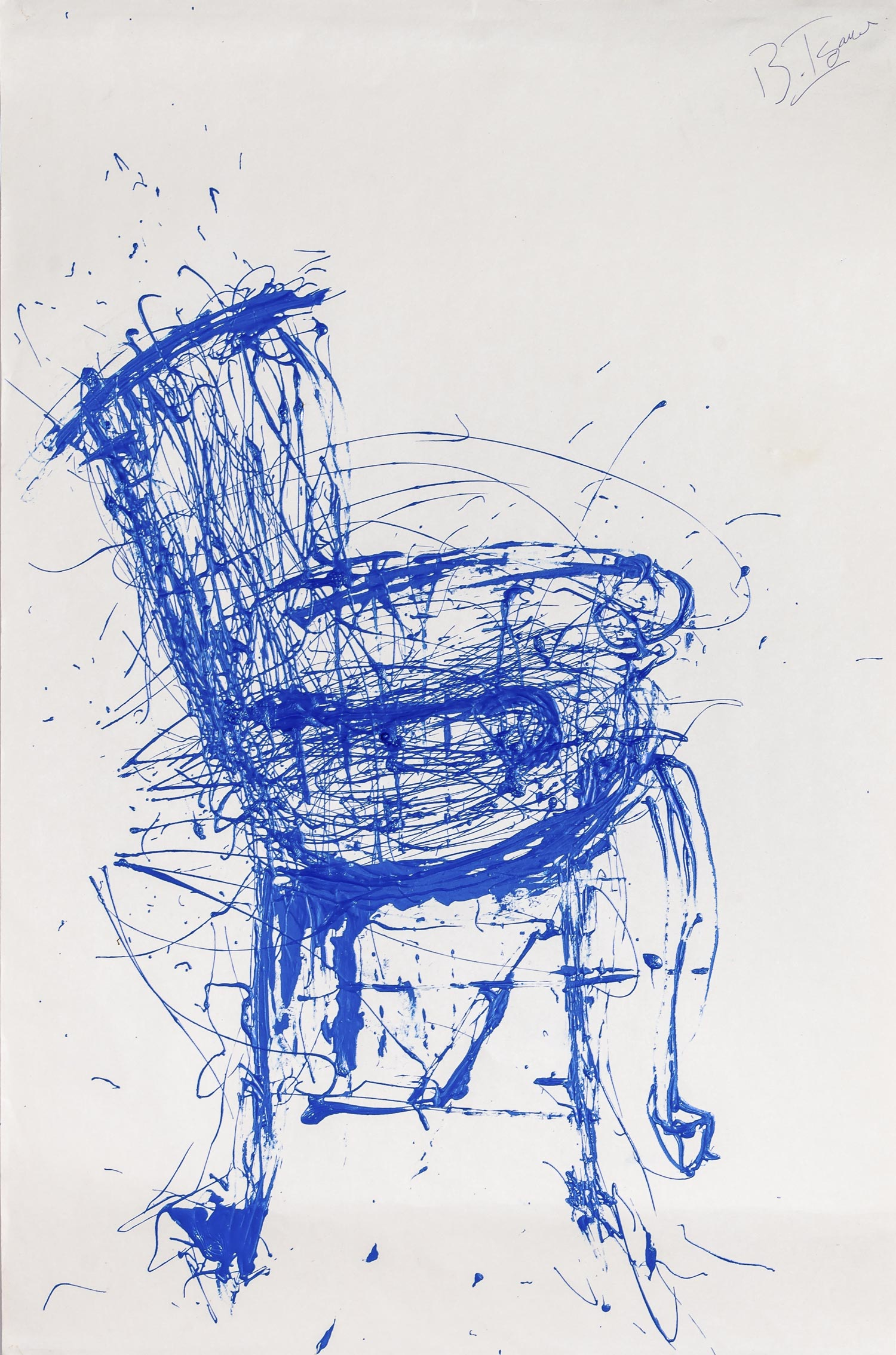 BLUE CHAIR #1  Industrial Paint on Paper |48 x 72 cm