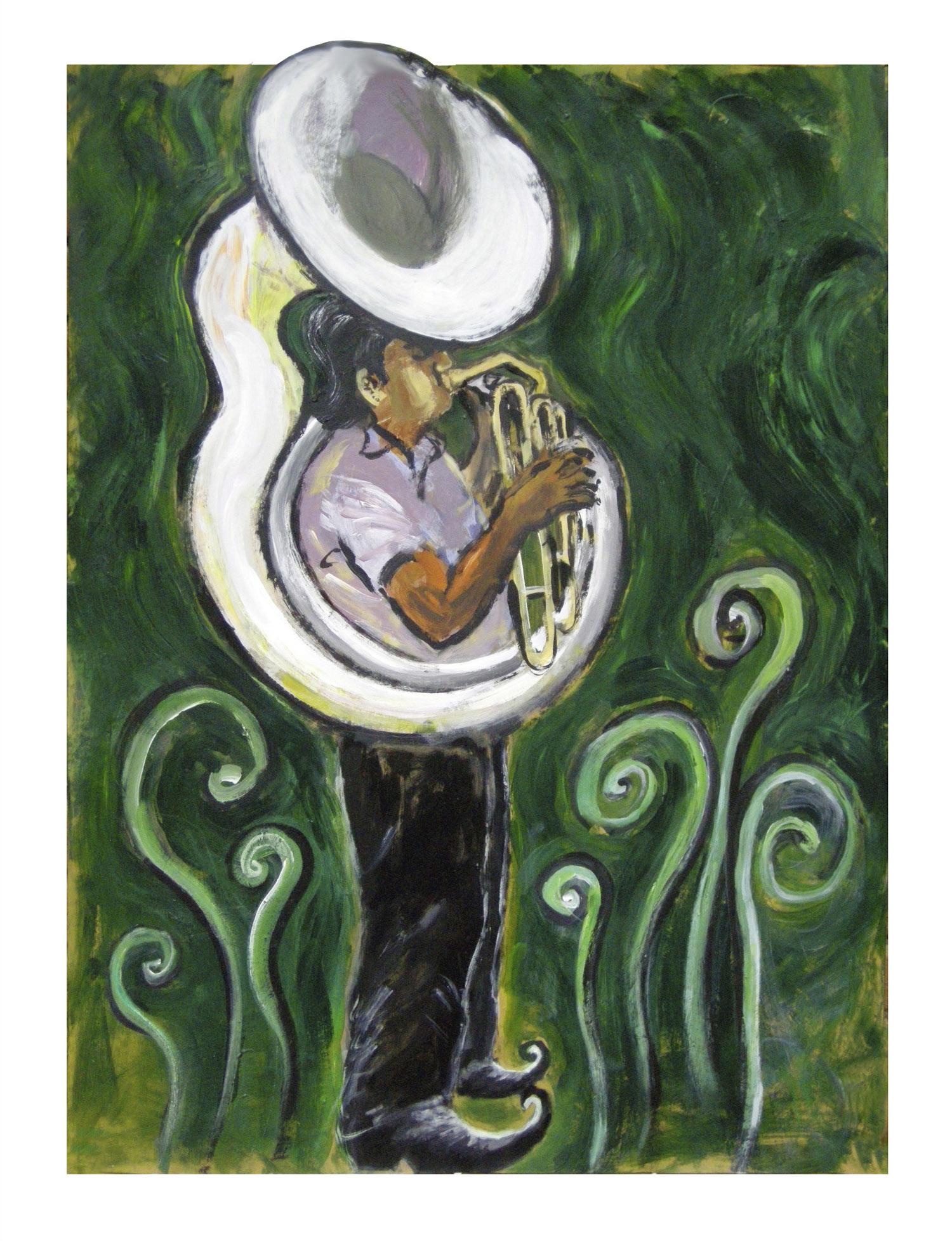SUMMONING THE SNAILS  Acrylic on Card | 79 x 101 cm (framed) | 2010