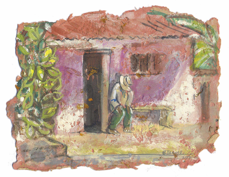 A HARD DAYS WORK  Gouache on handmade paper   41 x 29 cm   2007