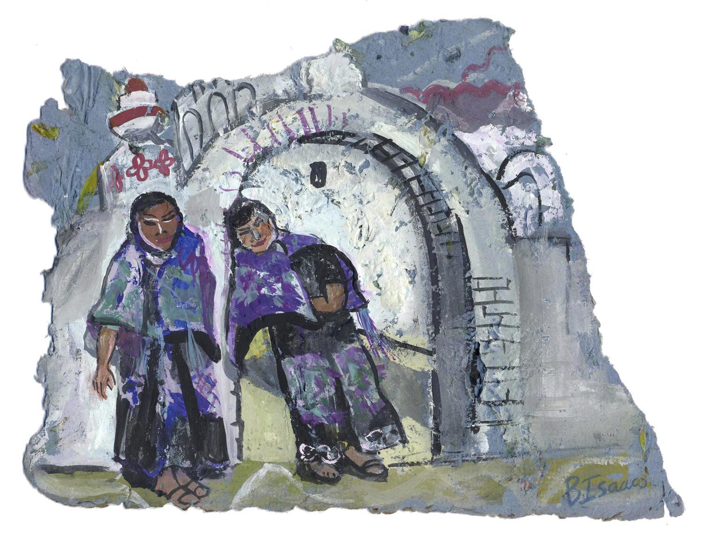 BAT GIRLS  Gouache on handmade paper   32 x 29 cm   2007