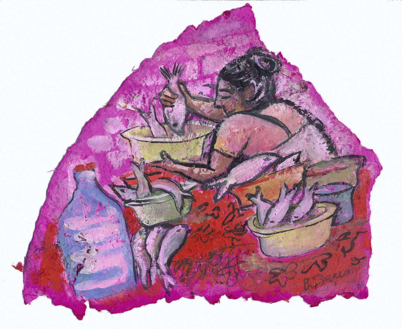 FISH WIFE  Gouache on handmade paper   32.5 x 29 cm   2007