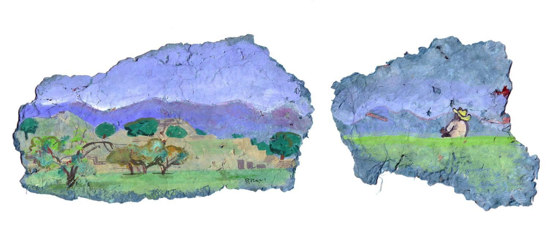 MONTE ALBAN  Gouache on handmade paper   39 x 13 cm   2005  Sold