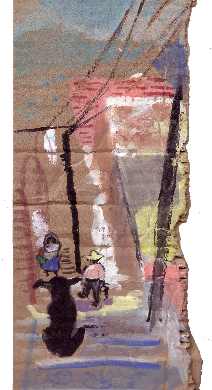 DOG'S EYE VIEW  Gouache on cardboard   25 x 50.5 cm   2004  Sold