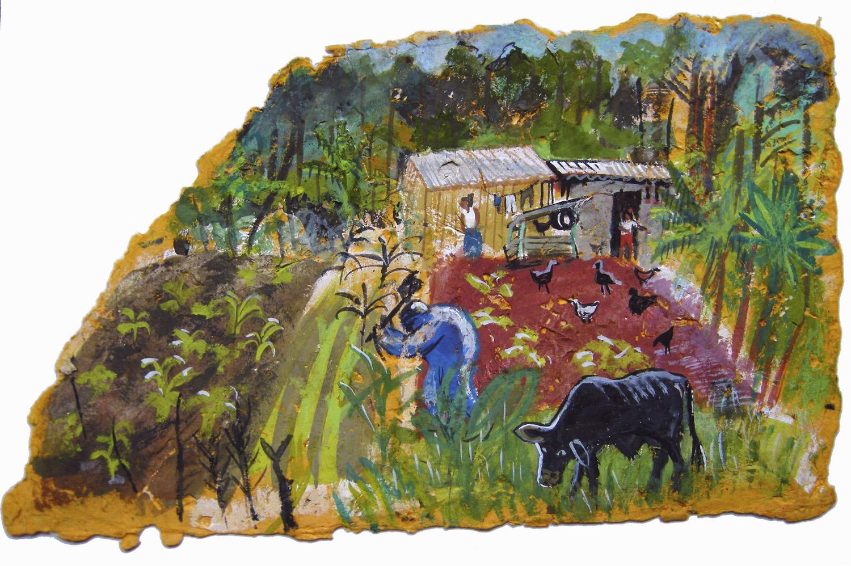 PAISANOS  Gouache on handmade paper   40 x 30 cm  2007  Sold