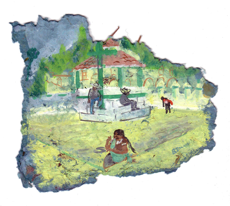 EL ZOCALO DE CHAMULA  Gouache on handmade paper   26 x 26 cm   2005