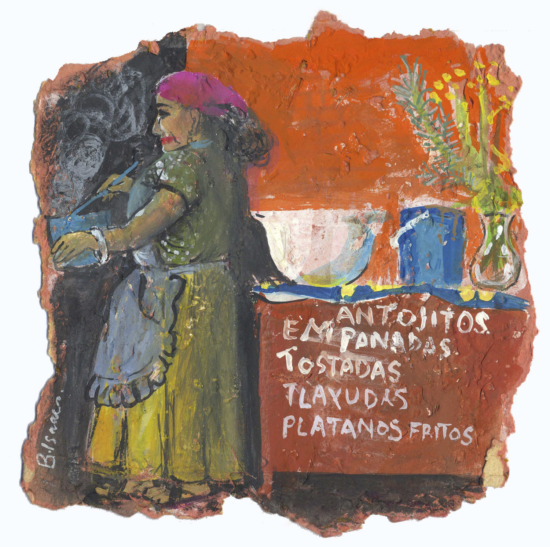 PLATANOS FRITOS POR FAVOR  Gouache on handmade paper   30 x 30 cm   2005  Sold