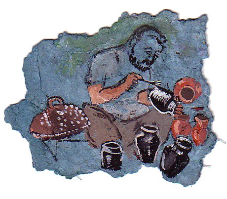 COPPER ENGRAVER  Gouache on handmade paper   22 x 22 cm   2005  Sold